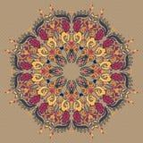 Орнаментальная круглая флористическая картина шнурка Стоковое Изображение