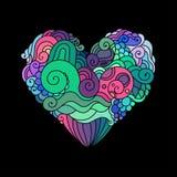Орнаментальная поздравительная открытка ` s StValentine с эскизом сердца красочного zentangle флористическим Иллюстрация сердца в Стоковые Изображения