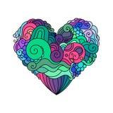 Орнаментальная поздравительная открытка ` s StValentine с эскизом сердца красочного zentangle флористическим Иллюстрация сердца в Стоковая Фотография