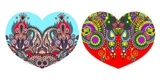 Орнаментальная флористическая форма сердца к дизайну дня валентинок иллюстрация вектора