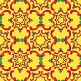 Орнаментальная безшовная картина Красные и зеленые элементы кривой Стоковые Изображения