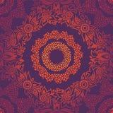 Орнаментальная безшовная картина с большими цветками и скручиваемостями. иллюстрация вектора