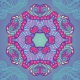 Орнаментальная голубая и фиолетовая мандала Стоковое Изображение RF
