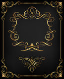 Орнаментальная золотая каллиграфическая рамка Стоковое Изображение