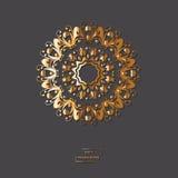 Орнаментальная золотая мандала цветка на серой предпосылке цвета Ethni иллюстрация штока