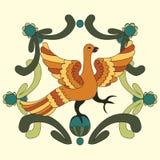 Орнаментальная иллюстрация вектора мифологической птицы Стоковая Фотография