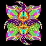 Орнаментальная картина от покрашенных флористических элементов Стоковые Изображения RF