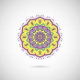 Орнаментальная красочная мандала на серой предпосылке иллюстрация штока