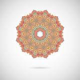 Орнаментальная красочная мандала Стильная геометрическая картина в Востоке иллюстрация штока