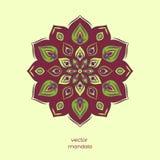 Орнаментальная красочная флористическая мандала, рука нарисованная геометрическая картина иллюстрация вектора