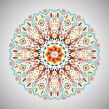 Орнаментальная круглая геометрическая картина в ацтекском стиле Стоковая Фотография RF