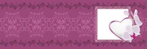 Орнаментальная фиолетовая граница с сердцем к дню валентинок Стоковые Изображения