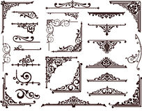 Орнаментальные границы и углы дизайна Стоковые Изображения RF