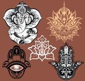 Орнаментальные слон и мандалы Hamsa для везения Стоковое фото RF
