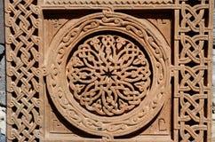 Орнаментальные knotworks армянских перекрестных камней - khachkars стоковые изображения rf
