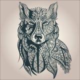 Орнаментальный декоративный волк, хищник, картина Стоковые Фотографии RF