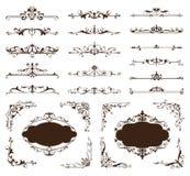 Орнаментальный комплект вектора границ и углов дизайна винтажных орнаментов Стоковые Изображения