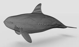 Орнаментальный структурный дизайн кита иллюстрация 3d Иллюстрация вектора