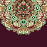 Орнаментальный шаблон с предпосылкой круга флористической Стоковая Фотография