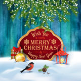 орнаментов приветствию рождества карточки bokeh предпосылки вектор вала пушистых естественных красный Стоковые Изображения
