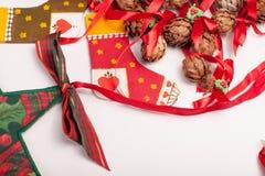 Орнаменты и украшение рождества на белой предпосылке Стоковое Изображение