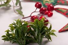 Орнаменты и украшение рождества на белой предпосылке Стоковая Фотография