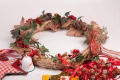 Орнаменты и украшение рождества на белой предпосылке Стоковые Фотографии RF
