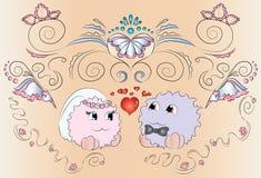 Орнаменты карточки свадьбы жениха и невеста Стоковые Изображения RF