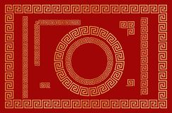Chinese traditional ornament. Set of seamless elements, frames and round frames. Vector. Chinese traditional ornament. Set of  seamless elements, frames, round stock illustration