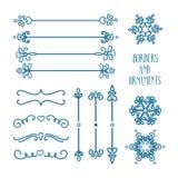Орнаменты нарисованные рукой голубые Стоковое Изображение RF