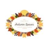 Орнаменты осени - листья и осеннее полнолуние (2) Стоковая Фотография RF