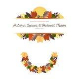 Орнаменты осени - листья и осеннее полнолуние (1) Стоковая Фотография RF