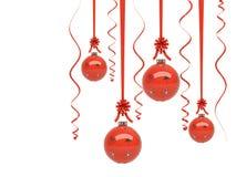 орнаменты рождества лоснистые красные Стоковое Фото
