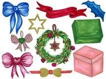 Орнаменты рождества от ветвей покрашенных с акварелями o иллюстрация штока
