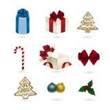 орнаменты рождества установили Стоковое Изображение
