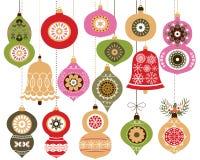орнаменты рождества установили Иллюстрация вектора