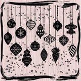 Орнаменты рождества, черные украшения шариков рождества, комплект украшения смертной казни через повешение рождества Стоковые Фото