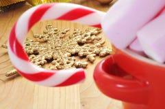 Орнаменты тросточки и рождества конфеты Стоковая Фотография