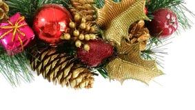 орнаменты handbell рождества ветви коробки шарика стоковая фотография
