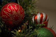 орнаменты handbell рождества ветви коробки шарика стоковая фотография rf