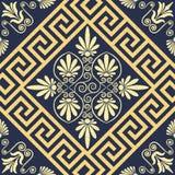 Орнамент безшовного винтажного золота вектора греческий (меандр) бесплатная иллюстрация