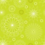 Орнамент безшовной картины линейный флористический на зеленой предпосылке также вектор иллюстрации притяжки corel Стоковое фото RF