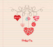 Орнамент валентинок doodle притяжки руки Стоковое Фото