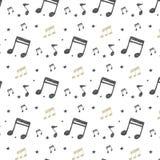 Орнамент вектора с музыкальными примечаниями в стиле Doodle Картина с нарисованными вручную музыкальными элементами иллюстрация вектора