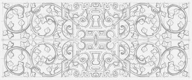 Орнамент винтажной барочной геометрии флористический Эскиз нарисованный рукой Стоковые Фото