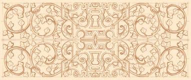 Орнамент винтажной барочной геометрии флористический Стоковое Изображение
