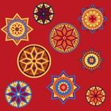 Орнамент в стиле boho страны на красной предпосылке Иллюстрация вектора