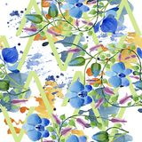 Орнамент голубых цветков Флористический ботанический цветок Безшовная картина предпосылки Стоковое Изображение