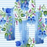 Орнамент голубых цветков Флористический ботанический цветок Безшовная картина предпосылки Стоковое Фото