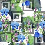 Орнамент голубых цветков Флористический ботанический цветок Безшовная картина предпосылки Стоковые Изображения RF